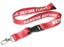 Red and White Aviation 'Remove Before Flight' Lanyard 53cm - ID Badge Holder Heat Transfer Printed and Nice Silky Touch